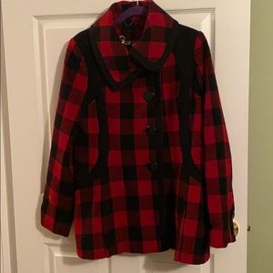 Guess Red and Black Plaid coat